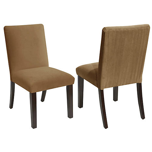 S/2 Erin Side Chairs, Sand Velvet