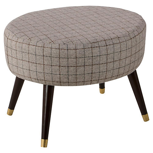Dani Stool, Gray Plaid