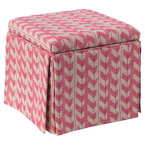 Anne Skirted Storage Ottoman, Pink Jetty Stripe
