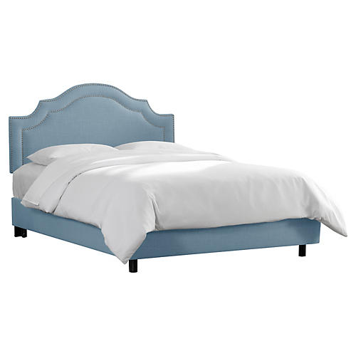 Bedford Bed, Light Blue Linen