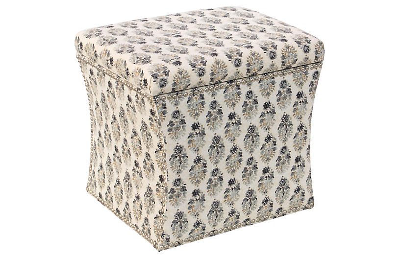 Pleasing Merritt Storage Ottoman Sepia Floral Gmtry Best Dining Table And Chair Ideas Images Gmtryco