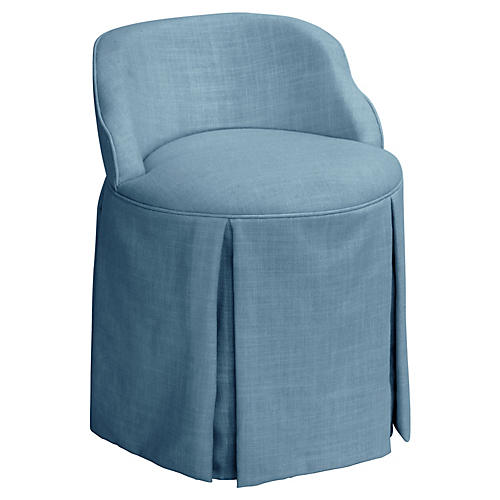 Addie Vanity Stool, French Blue Linen