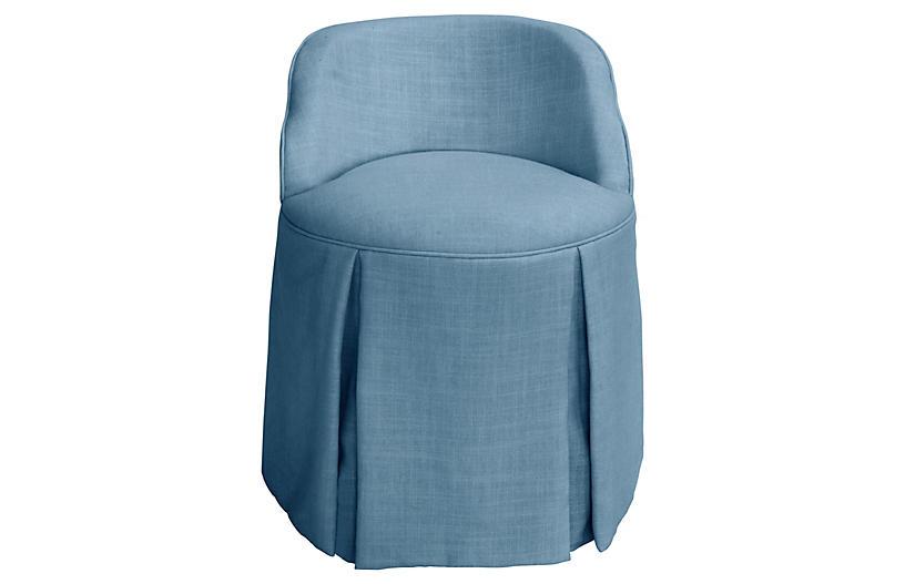 Addie Vanity Stool French Blue Linen Vanity Stools