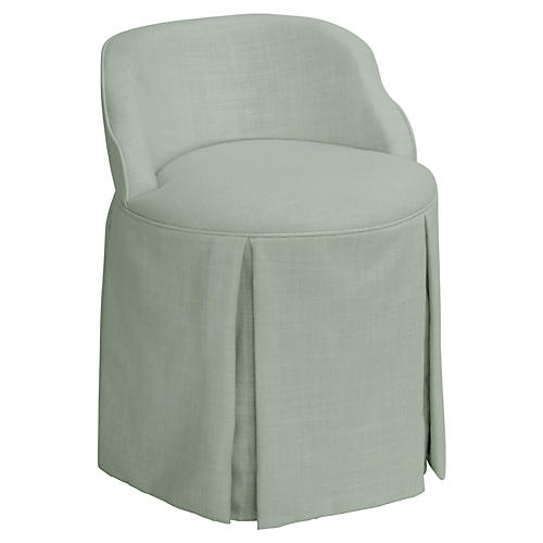 Addie Vanity Stool, Mint Linen
