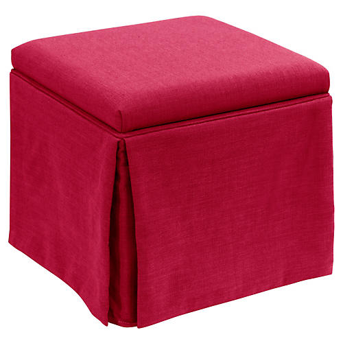 Anne Skirted Storage Ottoman, Fuchsia Linen