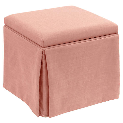 Anne Skirted Storage Ottoman, Petal Linen