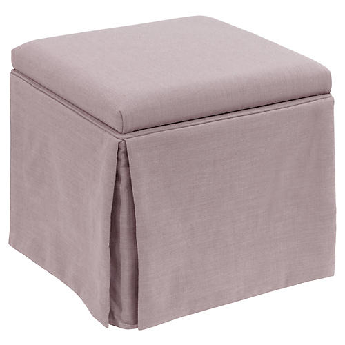 Anne Skirted Storage Ottoman, Lilac Linen