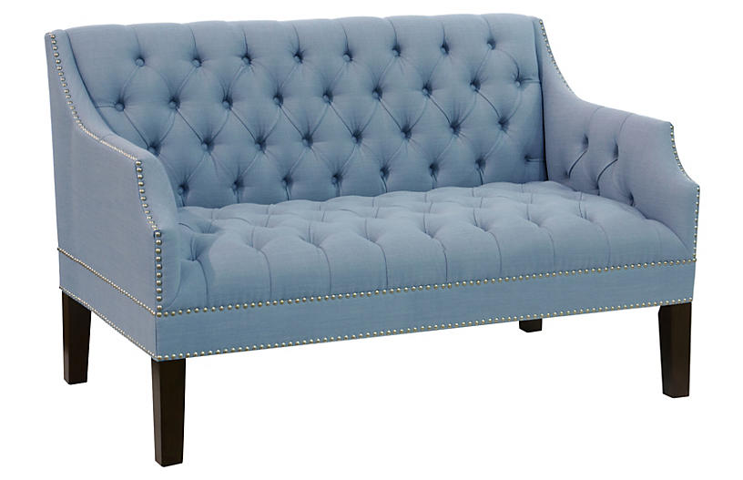 Laura Tufted Settee, French Blue