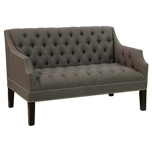 Laura Tufted Settee, Charcoal