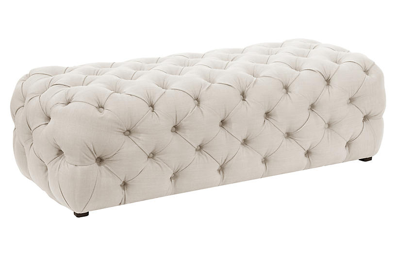 Liane Tufted Bench, Talc Linen