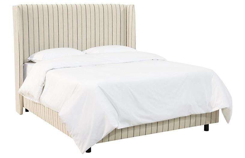 Kelly Wingback Bed, Tan Stripe