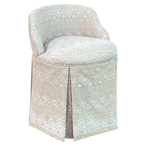 Addie Vanity Stool, Natural Batik
