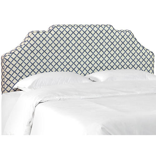 Maren Notched Headboard, Lattice Navy