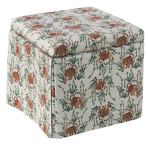 Anne Skirted Storage Ottoman, Bamboo Tiger