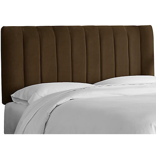 Delmar Channel Headboard, Chocolate Velvet