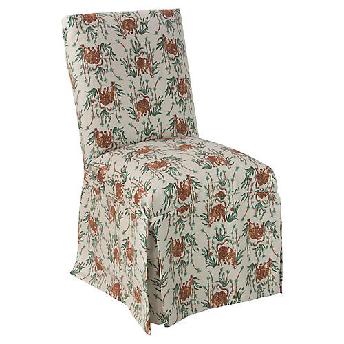 Owen Skirted Side Chair, Bamboo Tiger Linen