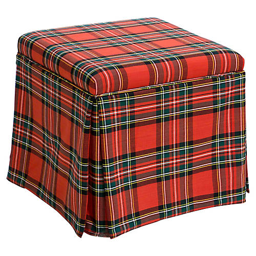 Anne Skirted Storage Ottoman, Red Tartan