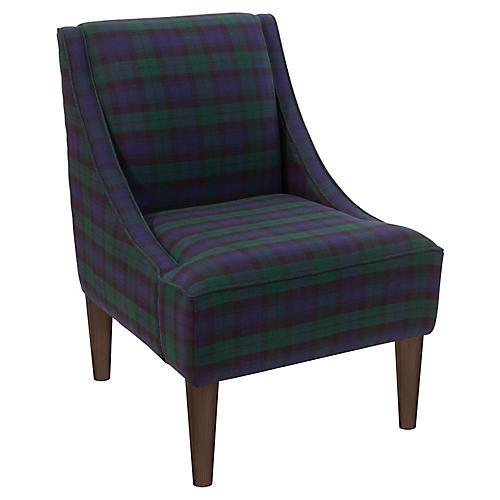 Quinn Swoop-Arm Accent Chair, Navy Plaid