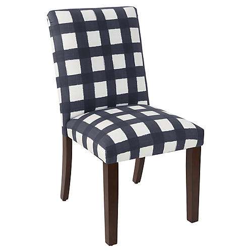 Shannon Side Chair, Navy Gingham