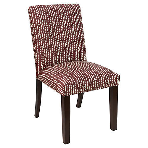 Shannon Side Chair, Line-Dot Red Linen