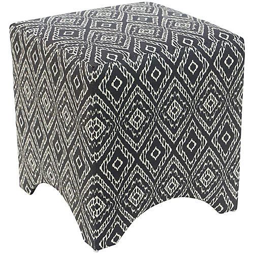 Ellery Cube Ottoman, Strie Texture Storm