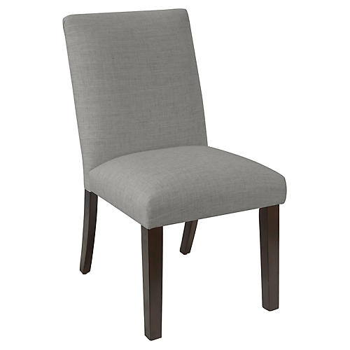 Erin Pleated Side Chair, Gray Linen