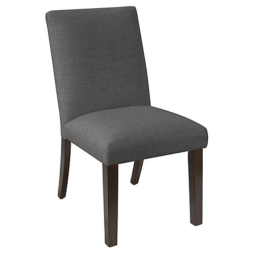 Erin Pleated Side Chair, Charcoal Linen