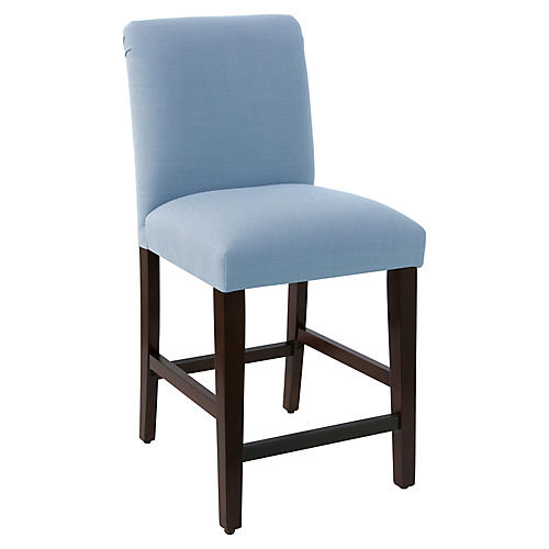 Erin Pleated Counter Stool, French Blue Linen