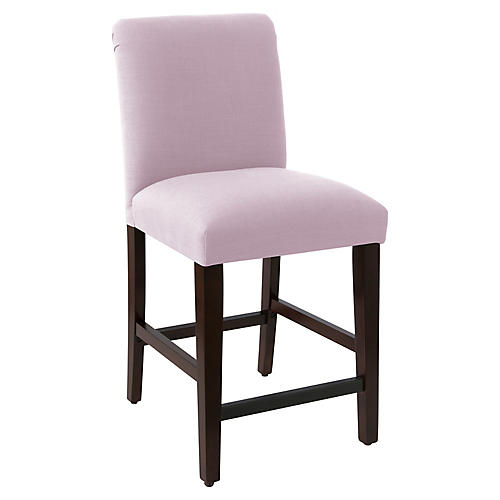 Erin Pleated Counter Stool, Lilac Linen