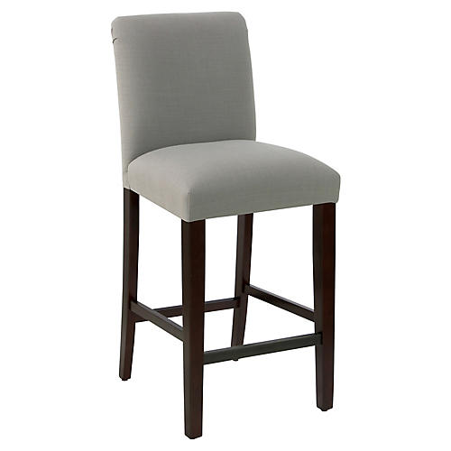 Erin Pleated Barstool, Gray Linen