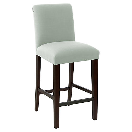 Erin Pleated Barstool, Mint Linen