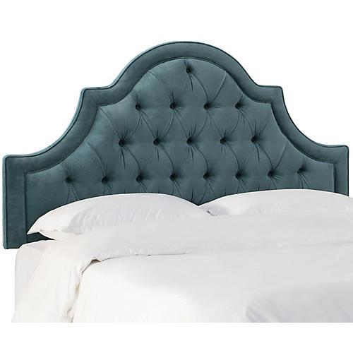 Harvey Headboard, Blue-Green Velvet
