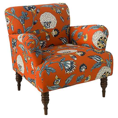 Nicolette Club Chair, Persimmon Floral