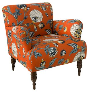 Superieur Tina Club Chair, Persimmon Floral   Club Chairs   Chairs   Living Room    Furniture | One Kings Lane