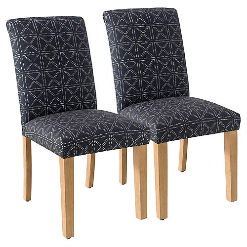 S/2 Shannon Side Chairs, Indigo Geo Dot