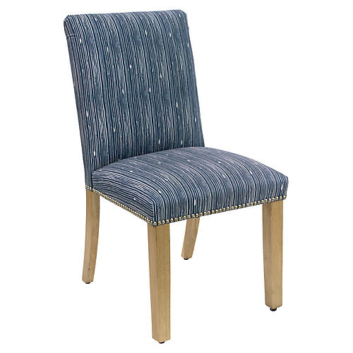 Kean Side Chair, Navy/White Linen
