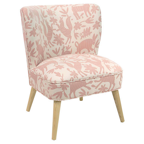 Bailey Accent Chair, Pink/White