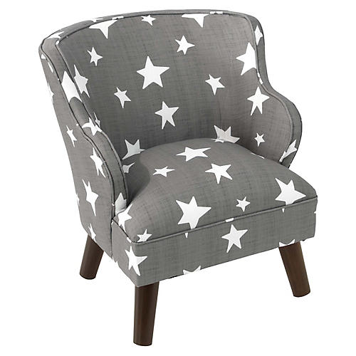 Kira Kids' Accent Chair, Gray/White Stars Linen