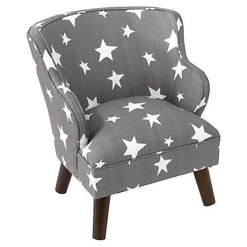 Kira Kids' Accent Chair, Gray/White Stars Linen