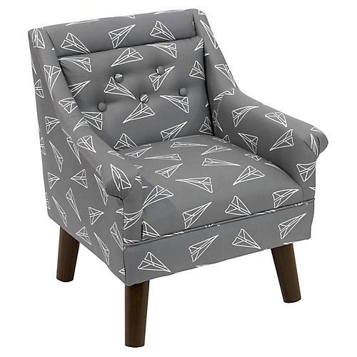 Bella Kids' Chair, Gray Linen