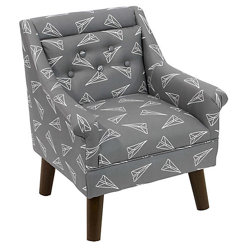 Bella Kids' Accent Chair, Gray Planes Linen