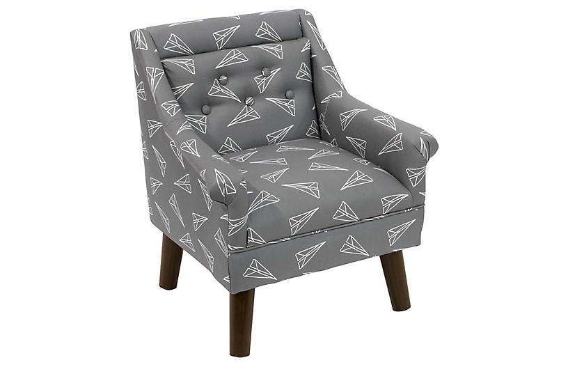 Bella Kids' Accent Chair, Gray Planes Linen