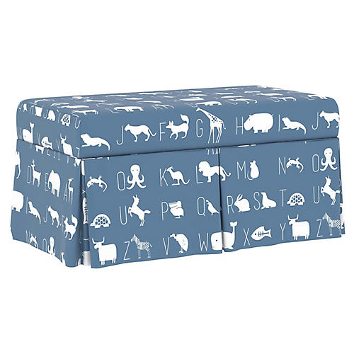 Anne Skirted Storage Bench, Blue Linen