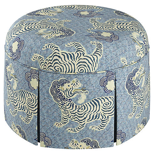 Liza Skirted Ottoman, Blue/Cream