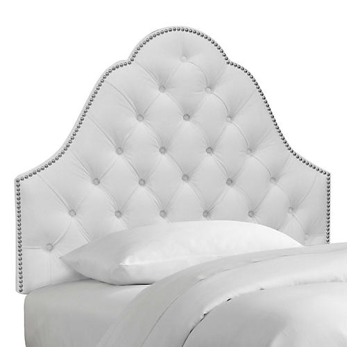 Allina Kid's Headboard, White Velvet
