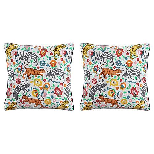S/2 Leopard Pillows, Blue Linen