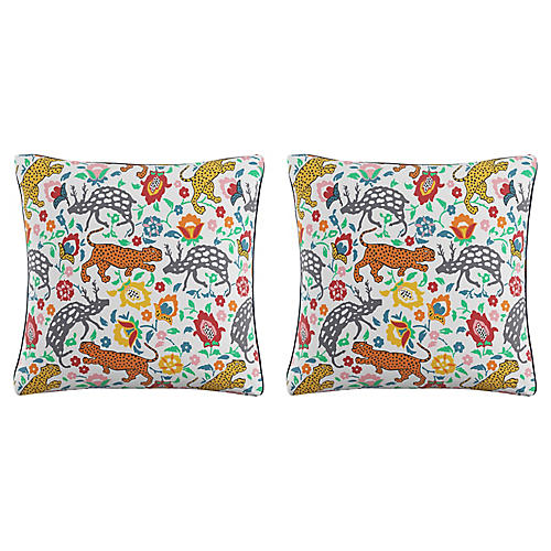 S/2 Leopard Pillows, Blue Linen
