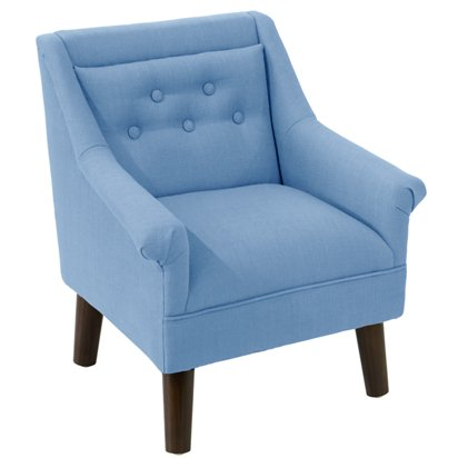 Surprising Bella Kids Accent Chair French Blue Linen Creativecarmelina Interior Chair Design Creativecarmelinacom