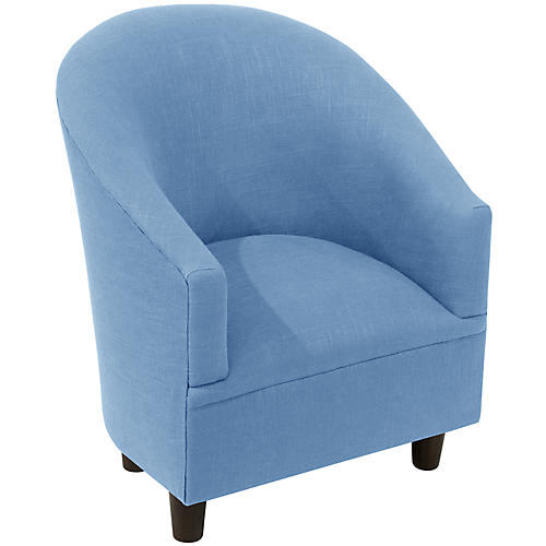Ashlee Kids' Barrel Chair, French Blue Linen