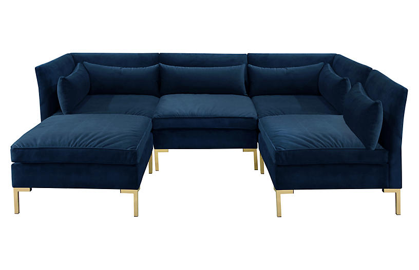 Marceau U-Shaped Sectional, Navy Velvet